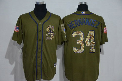 Seattle Mariners #34 Felix Hernandez Green Salute To Service Majestic Baseball Jersey