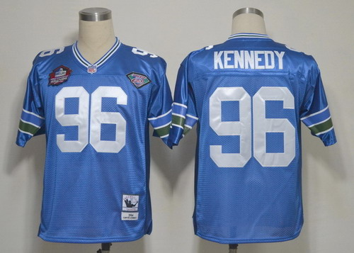 Seattle Seahawks #96 Cortez Kennedy Hall of Fame Blue Throwback Jersey