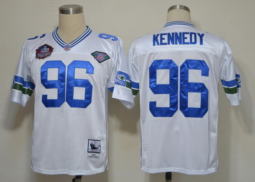 Seattle Seahawks #96 Cortez Kennedy Hall of Fame White Throwback Jersey