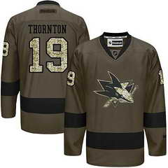 Sharks #19 Joe Thornton Green Salute To Service Stitched NHL Jersey