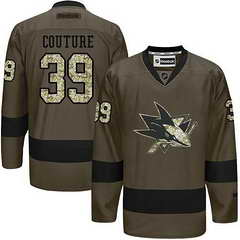 Sharks #39 Logan Couture Green Salute To Service Stitched NHL Jersey
