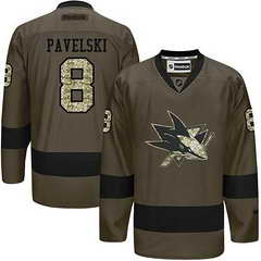 Sharks #8 Joe Pavelski Green Salute To Service Stitched NHL Jersey
