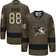 Sharks #88 Brent Burns Green Salute To Service Stitched NHL Jersey