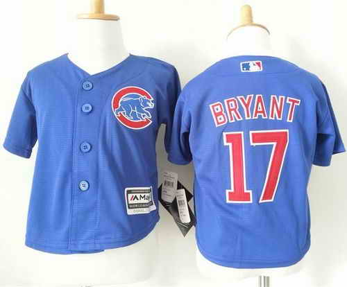 Toddler Chicago Cubs #17 Kris Bryant Blue Cool Base Stitched Baseball Jersey
