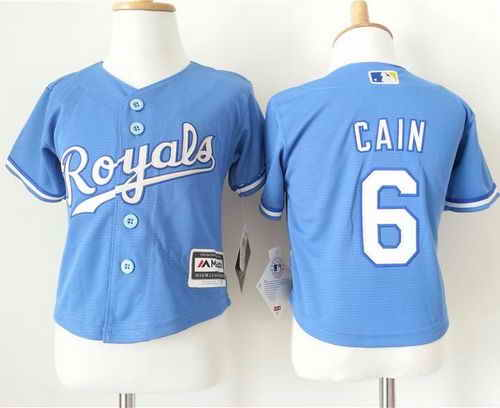 Toddler Kansas City Royals #6 Lorenzo Cain Light Blue Alternate 1 Cool Base Stitched Baseball Jersey