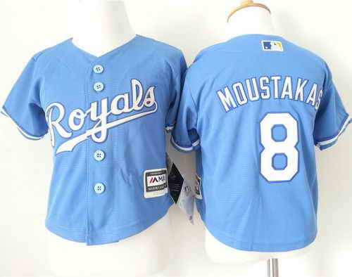 Toddler Kansas City Royals #8 Mike Moustakas Light Blue Alternate 1 Cool Base Stitched Baseball Jersey
