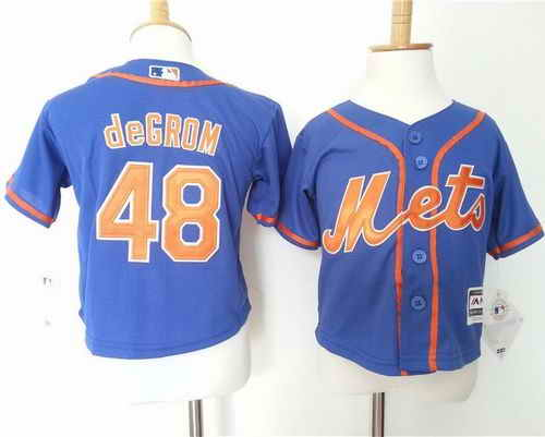 Toddler New York Mets #48 Jacob DeGrom Blue Alternate Home Cool Base Stitched Baseball Jersey