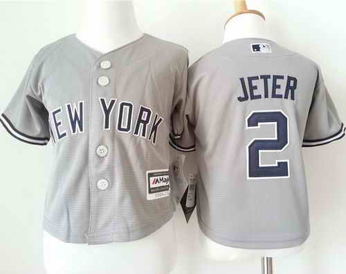 Toddler New York Yankees #2 Derek Jeter Grey Cool Base Stitched Baseball Jersey