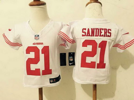 Toddler San Francisco 49ers #21 Deion Sanders White Retired Player NFL Nike Jersey