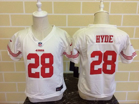 Toddler San Francisco 49ers #28 Carlos Hyde White Road NFL Nike Jersey