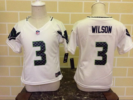 Toddler Seattle Seahawks #3 Russell Wilson White Road NFL Nike Jersey