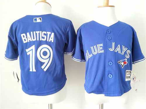Toddler Toronto Blue Jays #19 Jose Bautista Blue Cool Base Stitched Baseball Jersey