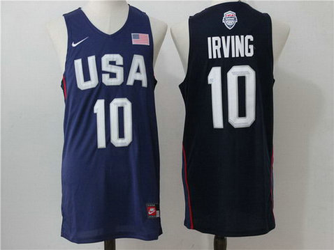 USA 10 Kyrie Irving Blue 2016 Olympics Dream Team Stitched Jersey