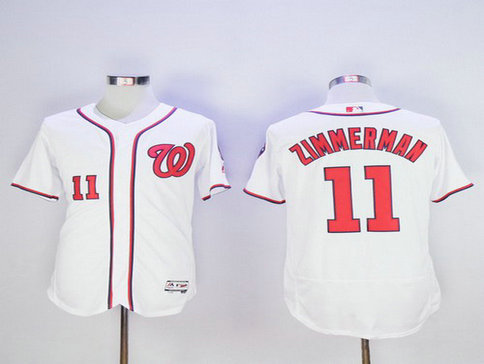 Washington Nationals #11 Ryan Zimmerman White Home 2016 Flexbase Majestic Baseball Jersey
