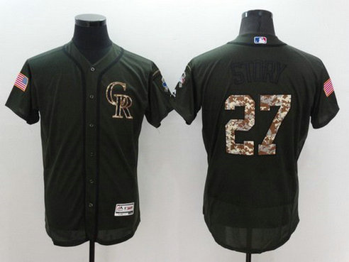 Washington Nationals #27 Trevor Story Green Salute To Service 2016 Flexbase Majestic Baseball Jersey