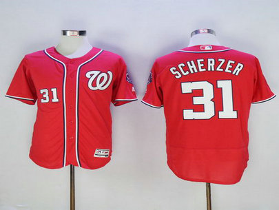 Washington Nationals #31 Max Scherzer Red 2016 Flexbase Majestic Baseball Jersey