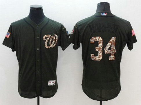 Washington Nationals #34 Bryce Harper Green Salute To Service 2016 Flexbase Majestic Baseball Jersey