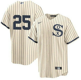 White Sox 25 Andrew Vaughn Cream 2021 Field Of Dreams Cool Base Jersey
