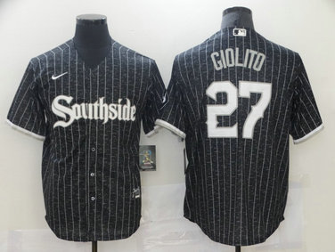 White Sox 27 Lucas Giolito Black 2021 City Connect Cool Base Jersey