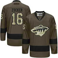 Wild #16 Jason Zucker Green Salute To Service Stitched NHL Jersey
