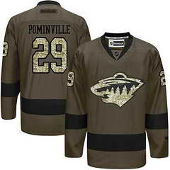 Wild #29 Jason Pominville Green Salute To Service Stitched NHL Jersey