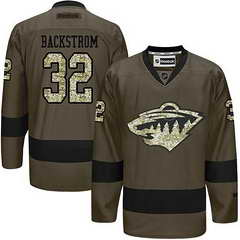 Wild #32 Niklas Backstrom Green Salute To Service Stitched NHL Jersey