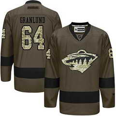 Wild #64 Mikael Granlund Green Salute To Service Stitched NHL Jersey