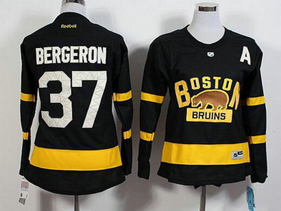 Women's Boston Bruins #37 Patrice Bergeron Reebok Black 2016 Winter Classic Premier Jersey