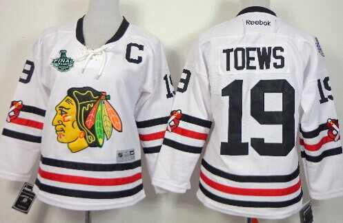 Women's Chicago Blackhawks #19 Jonathan Toews 2015 Stanley Cup 2015 Winter Classic White Jersey