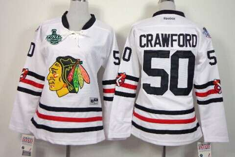 Women's Chicago Blackhawks #50 Corey Crawford 2015 Stanley Cup 2015 Winter Classic White Jersey