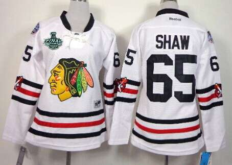 Women's Chicago Blackhawks #65 Andrew Shaw 2015 Stanley Cup 2015 Winter Classic White Jersey