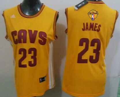 Women's Cleveland Cavaliers #23 LeBron James Yellow 2016 The NBA Finals Patch Jersey