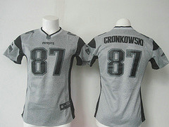 Women New England Patriots #87 Rob Gronkowski Gray Gridiron Gray Limited Jersey