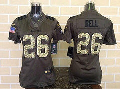 Women Pittsburgh Steelers #26 Le'Veon Bell Green Salute To Service Limited Jersey