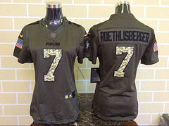 Women Pittsburgh Steelers #7 Ben Roethlisberger Green Salute To Service Limited Jersey