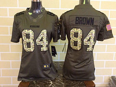 Women Pittsburgh Steelers #84 Brown Green Salute To Service Limited Jersey
