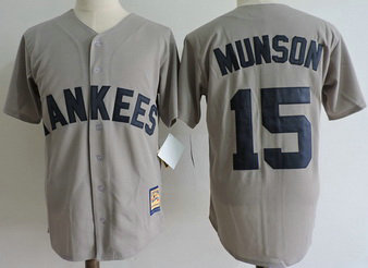 Yankees 15 Thurman Munson Gray Cooperstown Collection Jersey