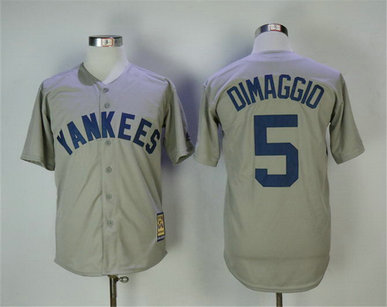 Yankees 5 Joe Dimaggio Gray Cooperstown Collection Throwback MLB Jersey