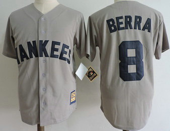 Yankees 8 Yogi Berra Gray Cooperstown Collection Jersey