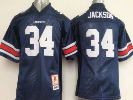 Youth Auburn Tigers #34 Bo Jackson Navy Blue Throwback College Football Jersey