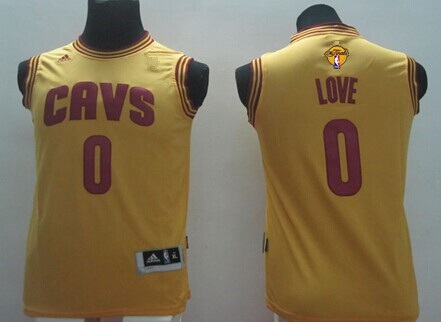 Youth Cleveland Cavaliers #0 Kevin Love Yellow 2016 The NBA Finals Patch Jersey