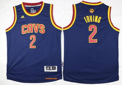 Youth Cleveland Cavaliers #2 Kyrie Irving Navy Blue 2016 The NBA Finals Patch Jersey