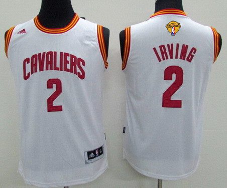 Youth Cleveland Cavaliers #2 Kyrie Irving White 2016 The NBA Finals Patch Jersey