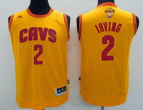 Youth Cleveland Cavaliers #2 Kyrie Irving Yellow 2016 The NBA Finals Patch Jersey