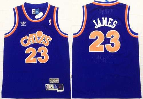 Youth Cleveland Cavaliers #23 LeBron James CavFanatic Blue Hardwood Classics Soul Swingman Throwback Jersey