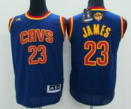 Youth Cleveland Cavaliers #23 LeBron James Navy Blue 2016 The NBA Finals Patch Jersey