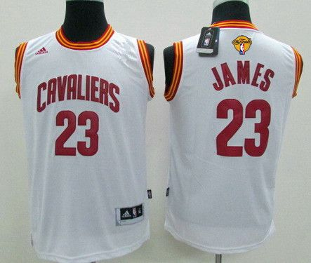 Youth Cleveland Cavaliers #23 LeBron James White 2016 The NBA Finals Patch Jersey