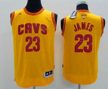 Youth Cleveland Cavaliers #23 LeBron James Yellow 2016 The NBA Finals Patch Jersey