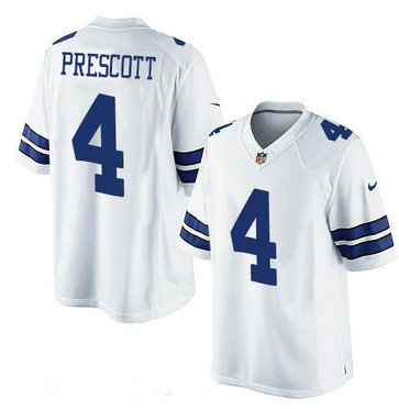 Youth Dallas Cowboys #4 Dak Prescott White Road Stitched NFL Nike Game Jersey