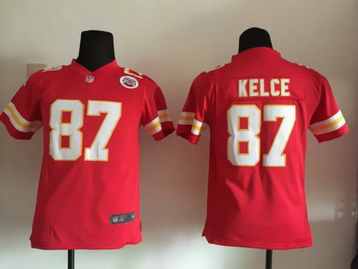 Youth Kansas City Chiefs #87 Travis Kelce Red Team Color NFL Nike Game Jersey
